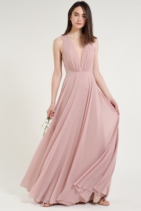 Jenny Yoo Bridesmaids Ryan in Whipped Apricot blush color chiffon at Gilded Social