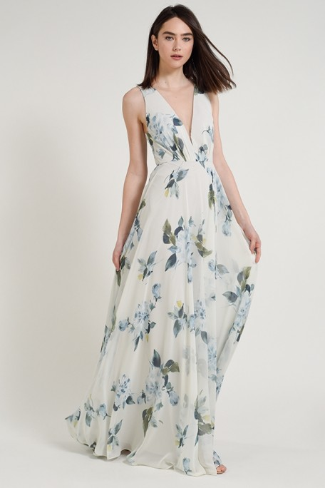 Jenny Yoo Bridesmaids Ryan Ohana Print in Soft Sage Blue large light blue floral printed chiffon at Gilded Social