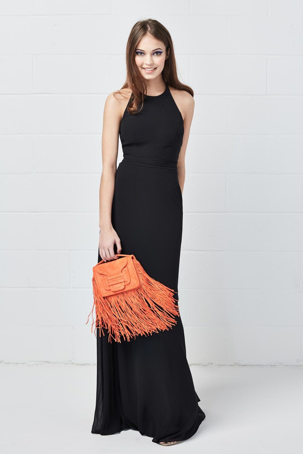 WToo Bridesmaids by Watters halter Style 600 in black plush inna chiffon at Gilded Social