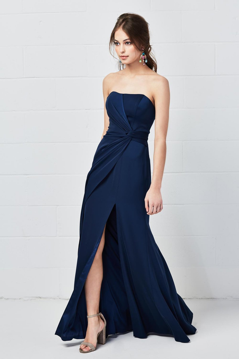 Watters Bridesmaids Style 5802 Rayden in Navy Blue bellessa stretch crepe at Gilded Social