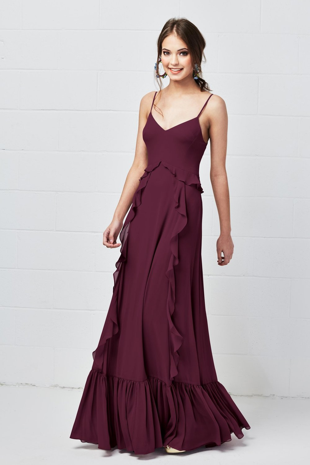 Watters Bridesmaids Style 5500 Darcie in Wine burgundy color luxe chiffon at Gilded Social