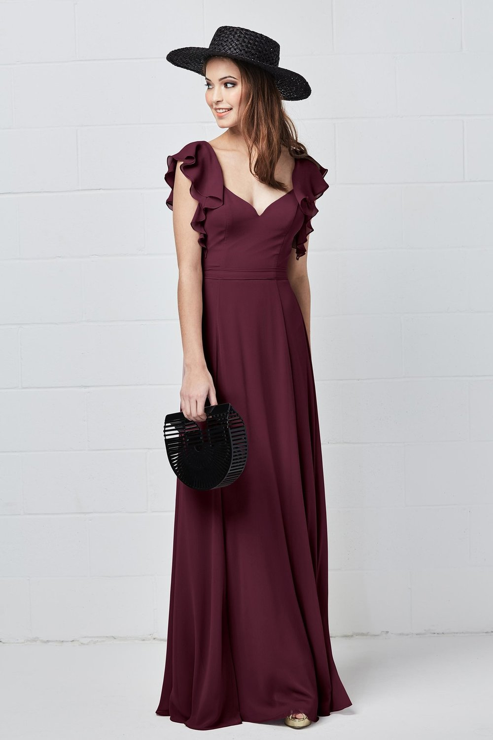 Watters Bridesmaids Style 5502 Pippa in Wine burgundy color luxe chiffon at Gilded Social