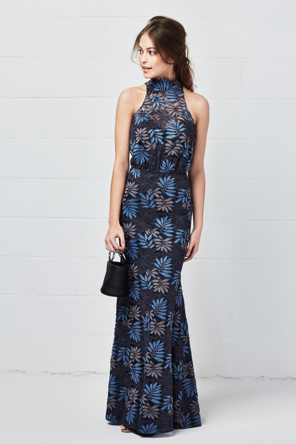 Watters Bridesmaids Style 5201 Olive in raven blue and black Ash Leaf floral lace at Gilded Social