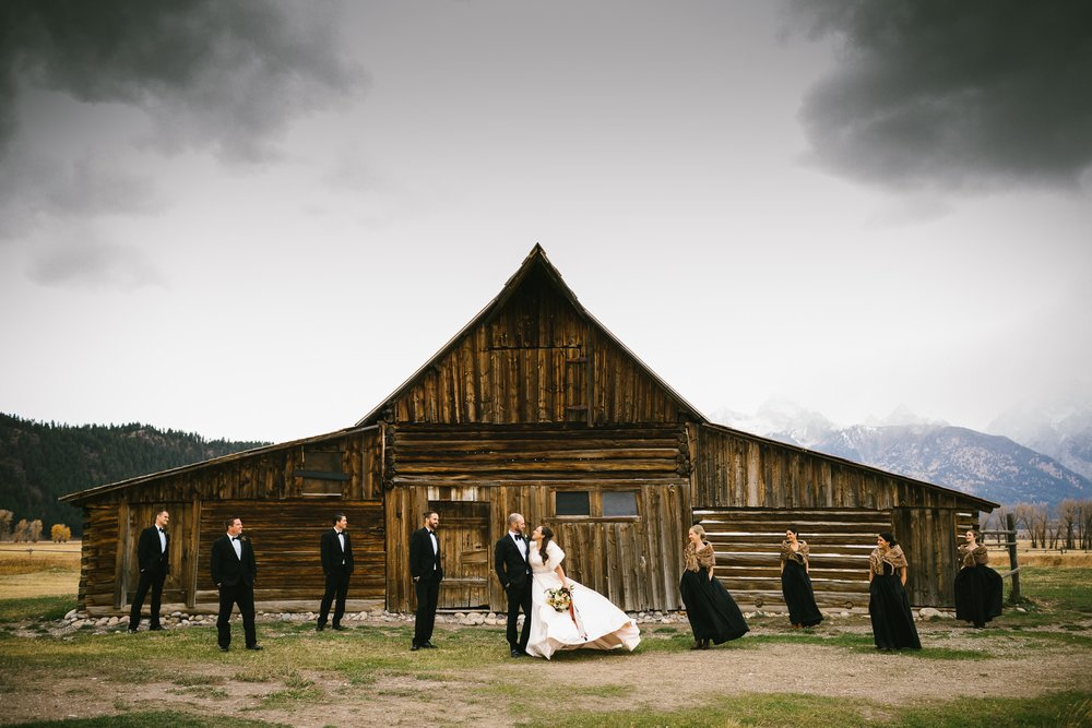 19 The bridal party at Mormon Row in Jackson, Wyoming