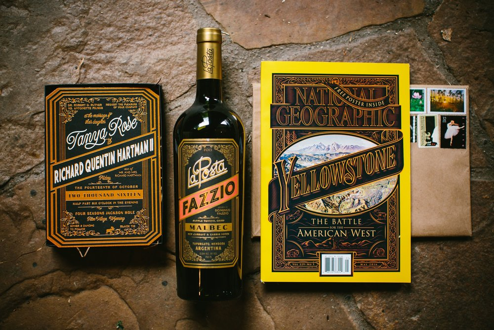 22 Our invitation design was inspired by La Posta wine. We sent National Geographic magazine to guests before the wedding to get excited