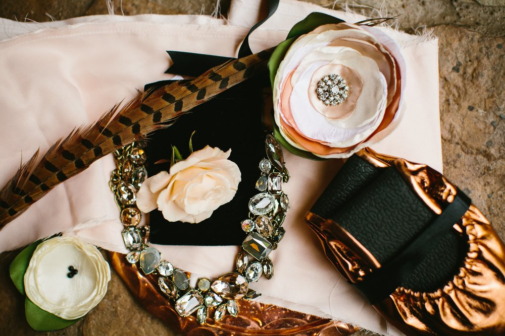 25 Details shot with silk flower corsages for moms and ushers, Bauble Bar bridesmaid necklace and Rescue Flats favors