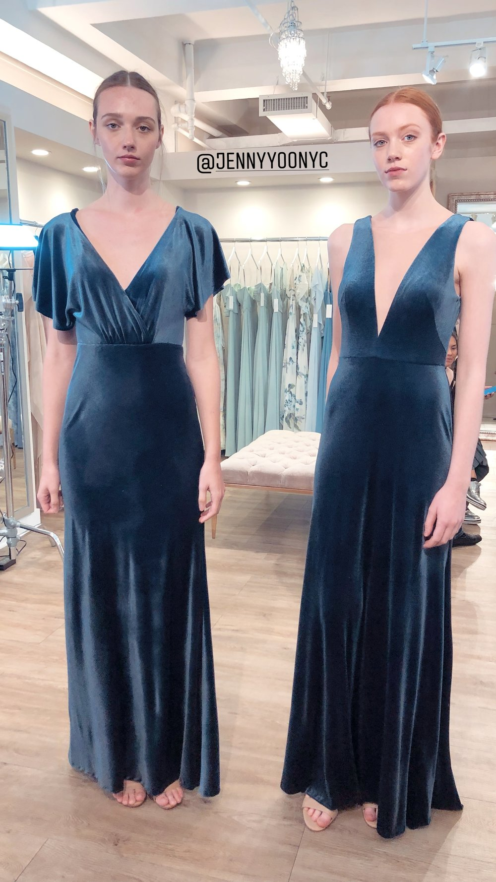 Jenny Yoo Bridesmaids in blue stretch velvet