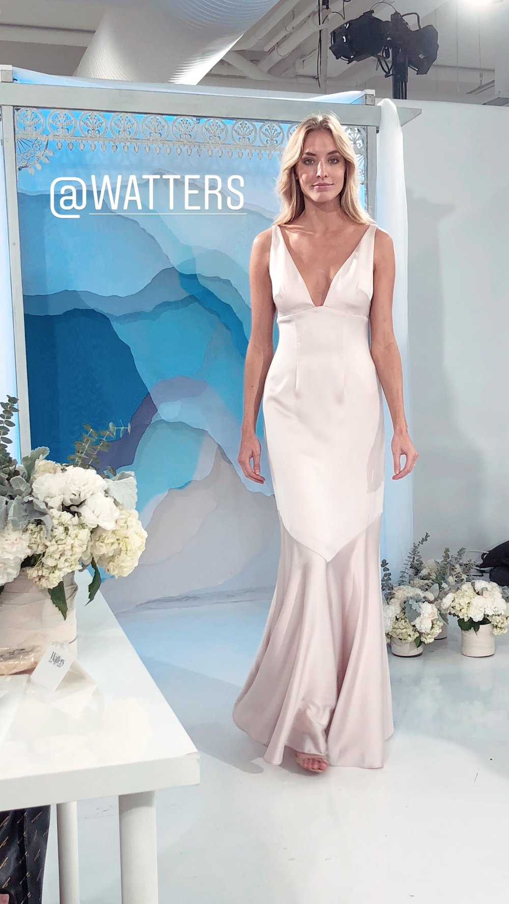 Watters Deep V in new Luscious Charmeuse fabric