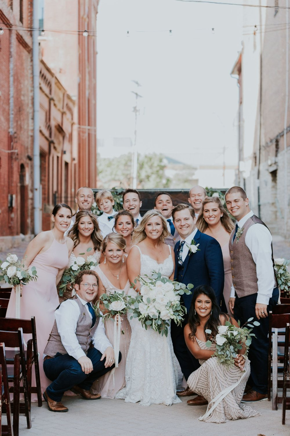 Bridal party in Columbus Ohio in mix and match dresses