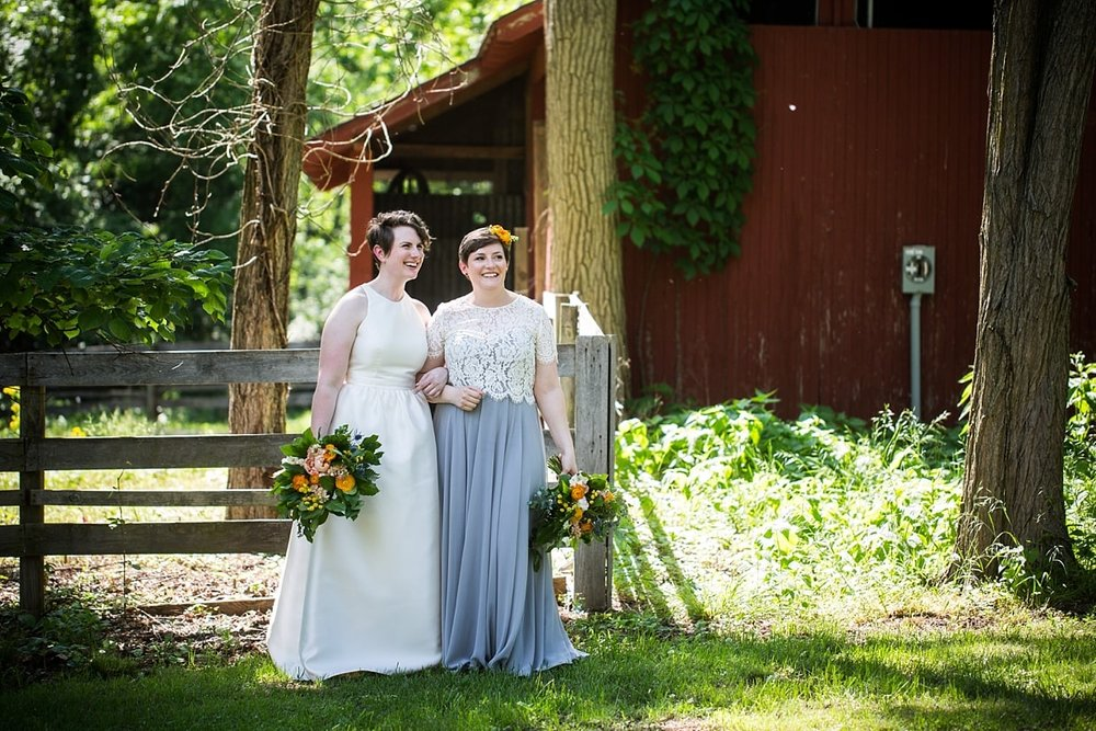 Camp Mary Orton colorful wedding with bridesmaid dresses as bridal gowns