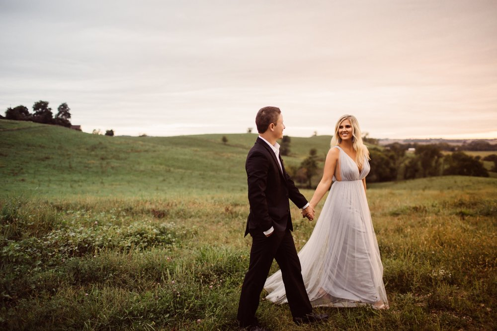 Engagement photos featuring Joanna August style Michelle in Winter Song blue
