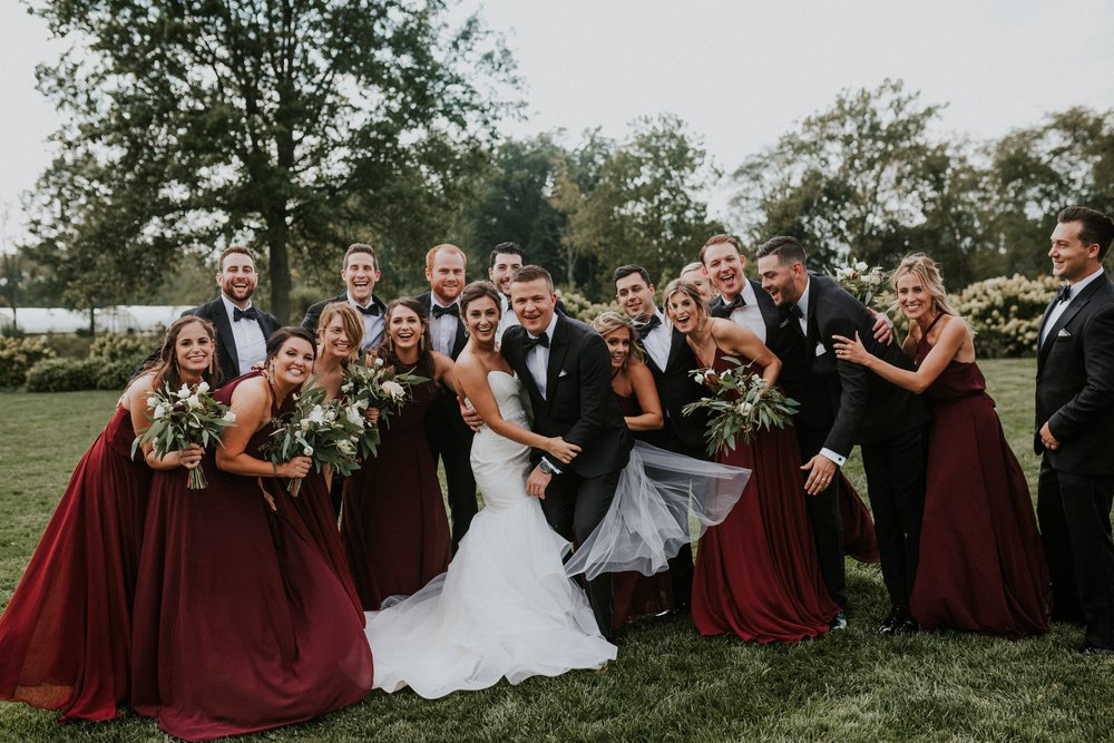 Burgundy mix and match bridal party in Jenny Yoo Amsale Nouvelle and Amsale