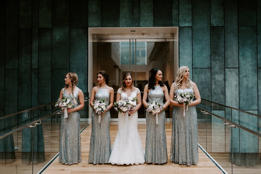 WTOO Talisa Sequin gowns in silvermist at the Columbus Museum of Art
