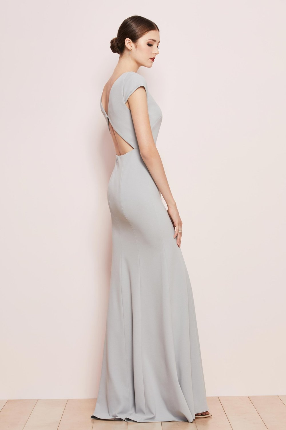 Parker by Watters in French Blue ballad crepe back view with diamond detail and back button clasp.JPG