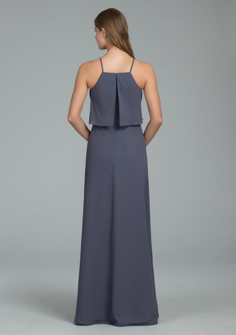 Back detail in gunmetal of Hayley Paige Occasions Bridesmaids Special Occasion Spring 2018 style 5807
