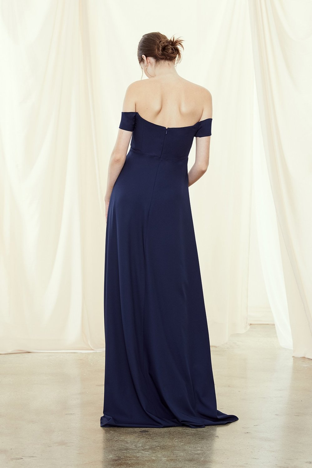 Autumn cold shoulder maternity style by Amsale Bridesmaids back view