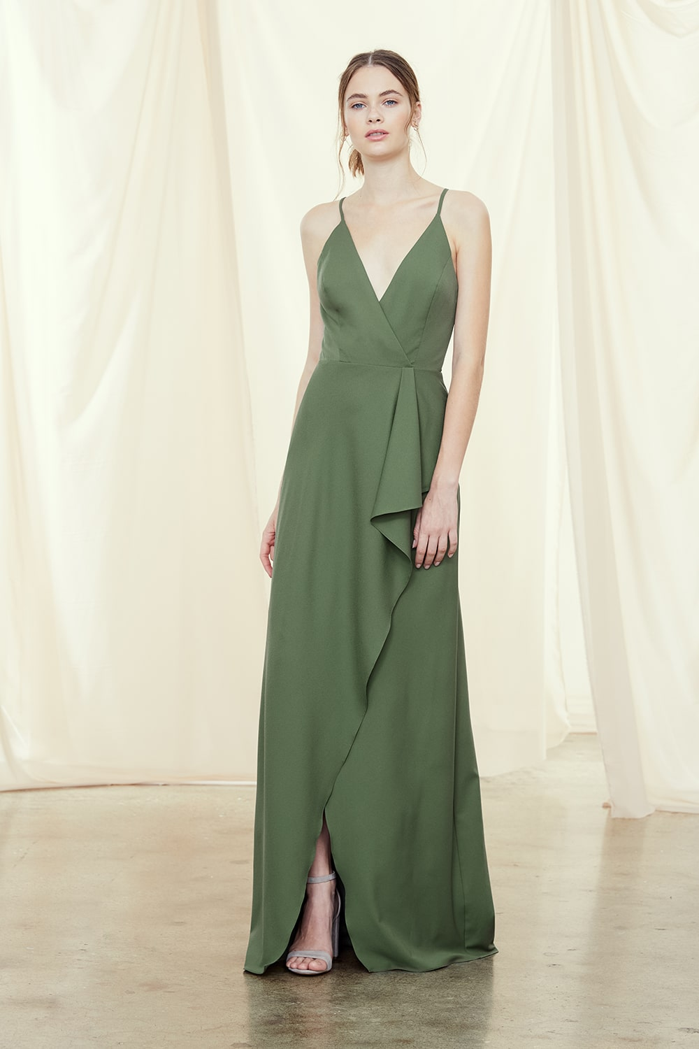 Giselle in olive green crepe by Amsale Bridesmaids