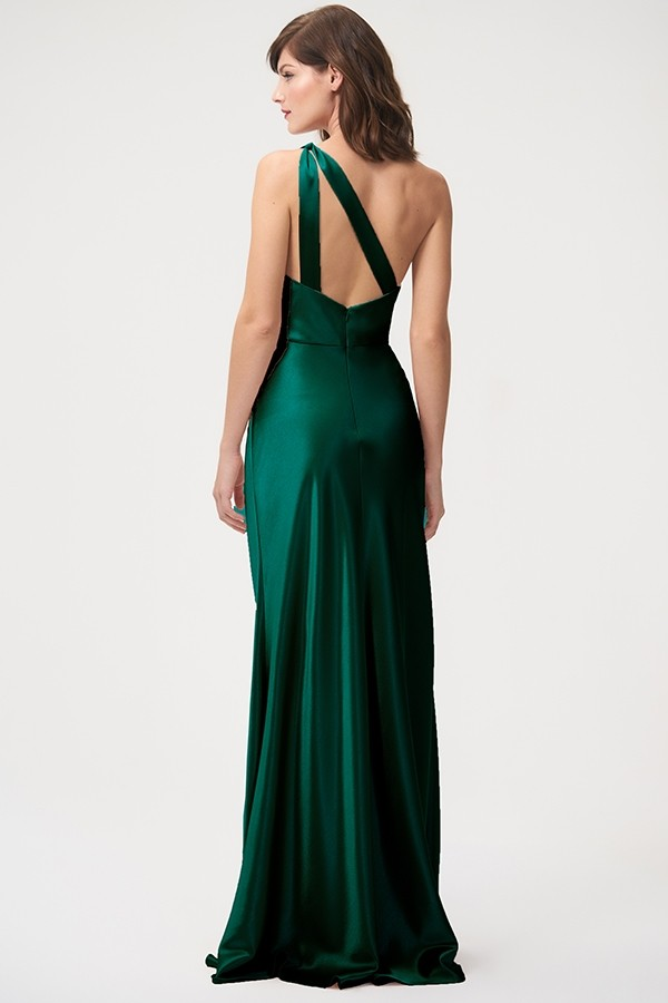 Back view of one shoulder Lena in satin back crepe by Jenny Yoo