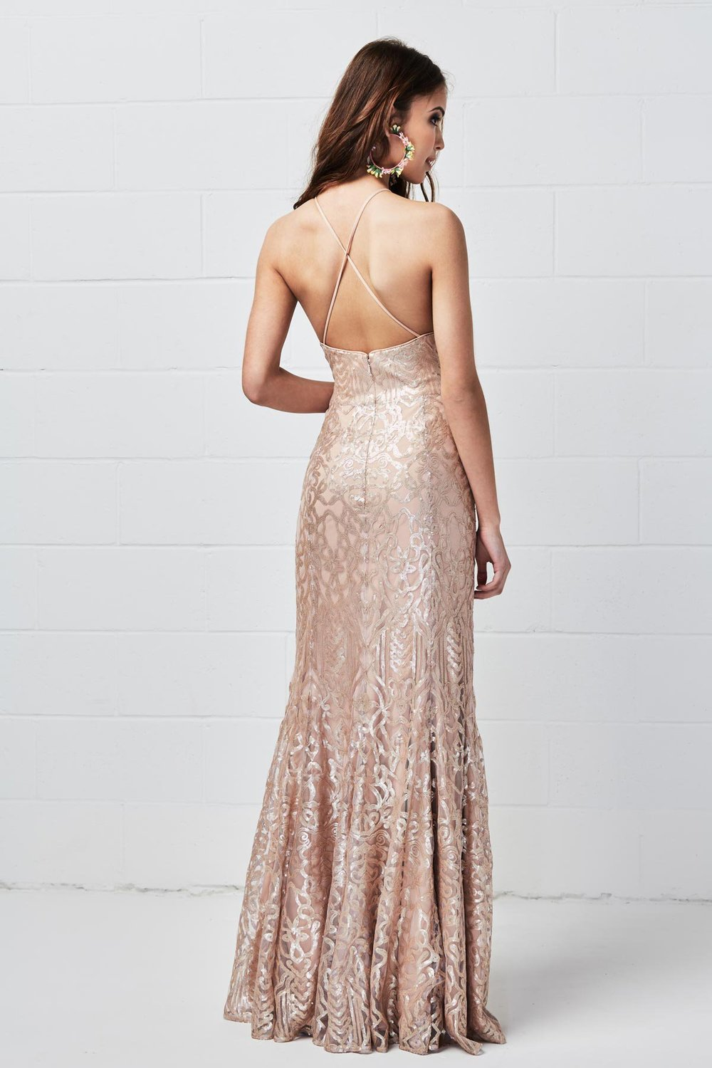 Back of cross back Talisa Sequin bridesmaid dress by WTOO style 651