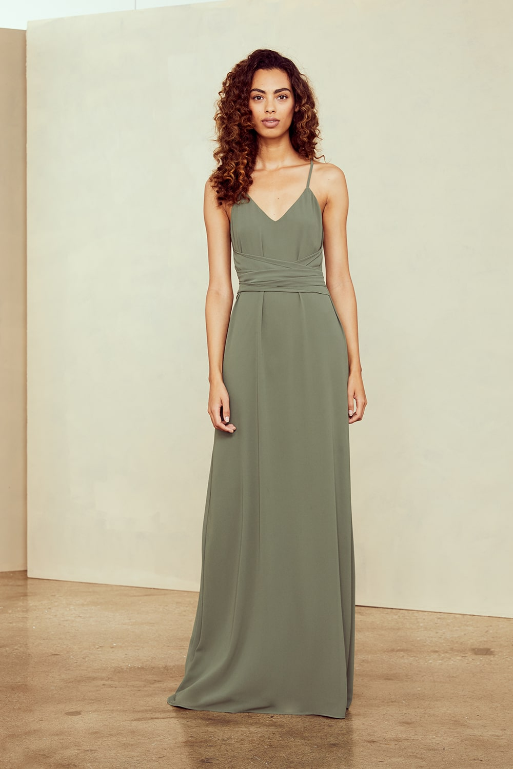 Amsale Nouvelle Bridesmaids style N379 JOY Obi belt spaghetti straps in olive green