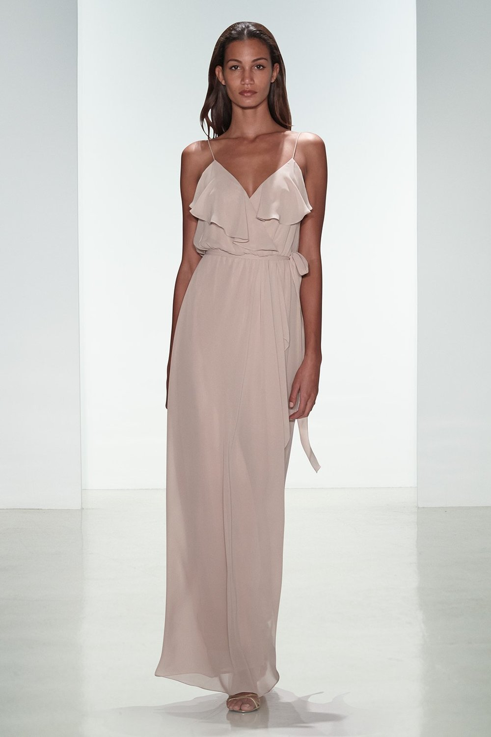 Drew by Amsale Nouvelle in bellini chiffon with boho ruffle details