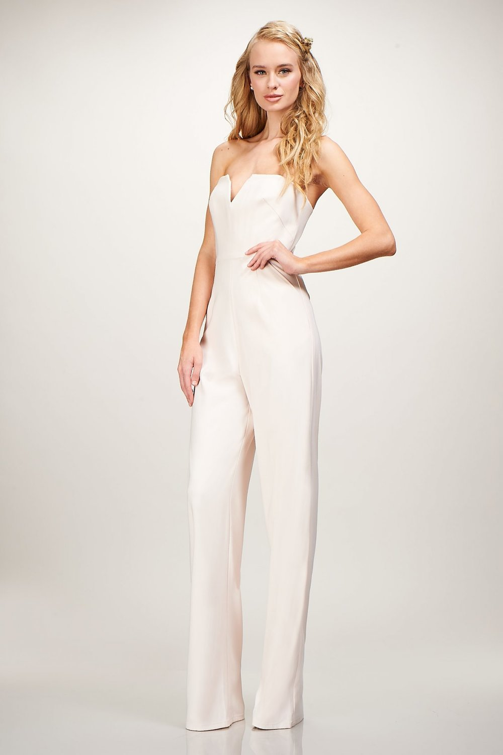 Theia's Cara jumpsuit is a perfect rehearsa dinner or honeymoon look