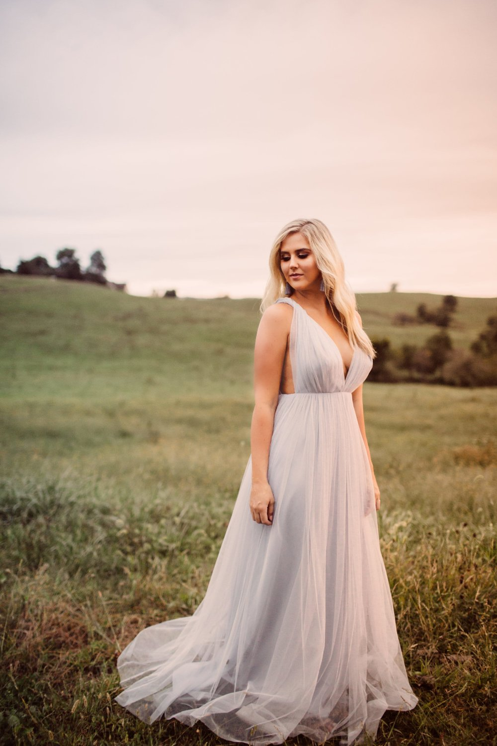 Deep V Michelle dress by Joanna August featured in engagement shoot