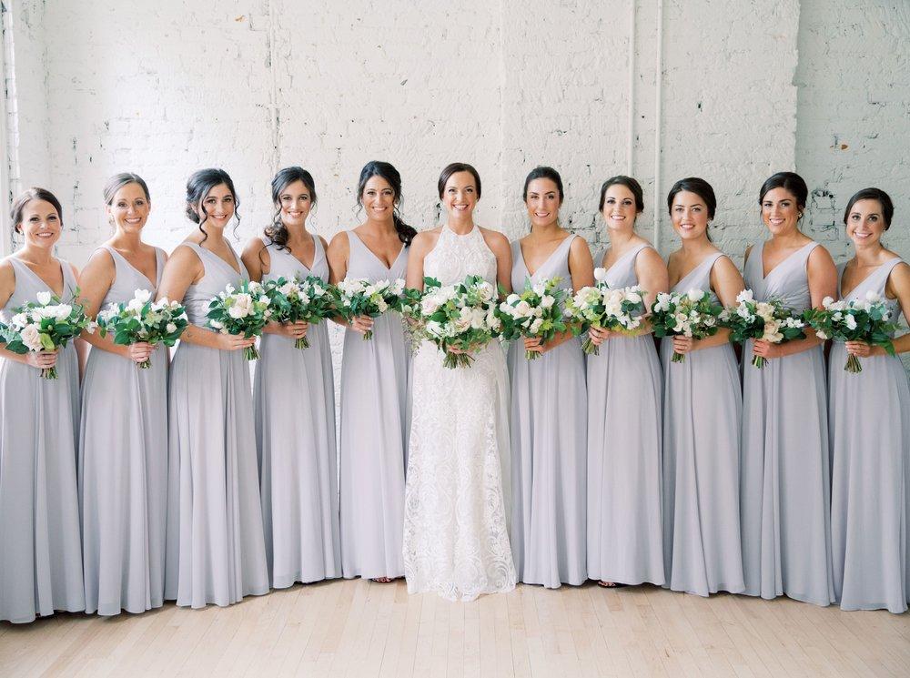 Amsale bridesmaids in Justine chiffon style in Dove