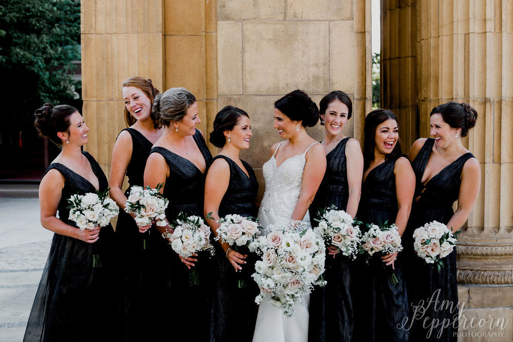 Monique Lhuillier Bridesmaids in Whitney dress in charcoal metallic chiffon