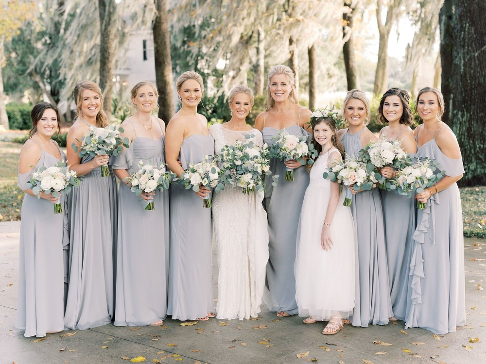 Theia Couture mix and match party in stone light gray blue chiffon
