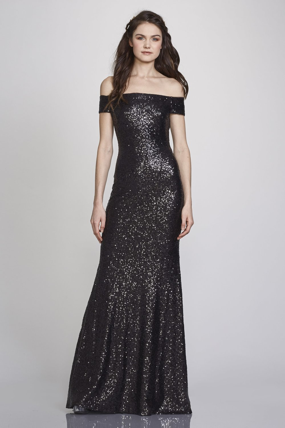 Leigh by Theia is a great off the shoulder gown with head to toe sequins