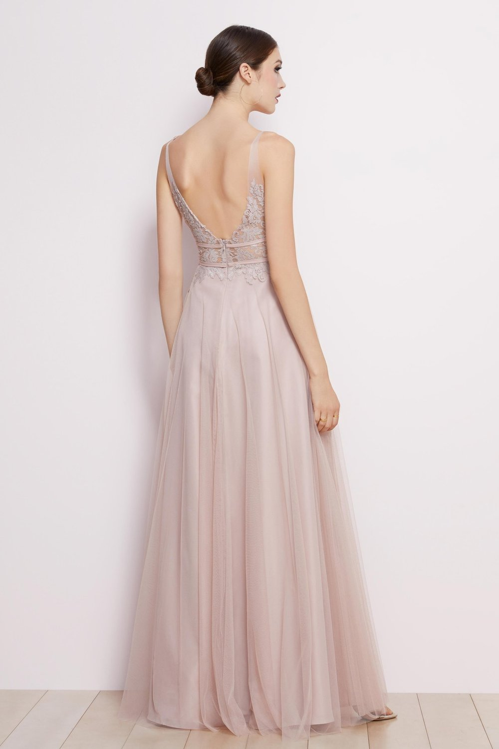 Back of Brielle dress by Watters Bridesmaids in blush lace and tulle