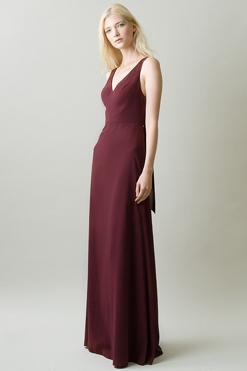 42868bb7563 Side view of Delaney in crepe de chine by Jenny Yoo Bridesmaids. Front of  Delaney by Jenny Yoo Bridesmaids in hibiscus burgundy with v neck