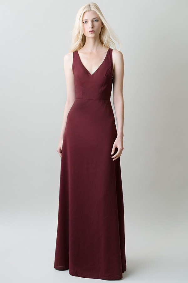 Front of Delaney by Jenny Yoo Bridesmaids in hibiscus burgundy with v neck