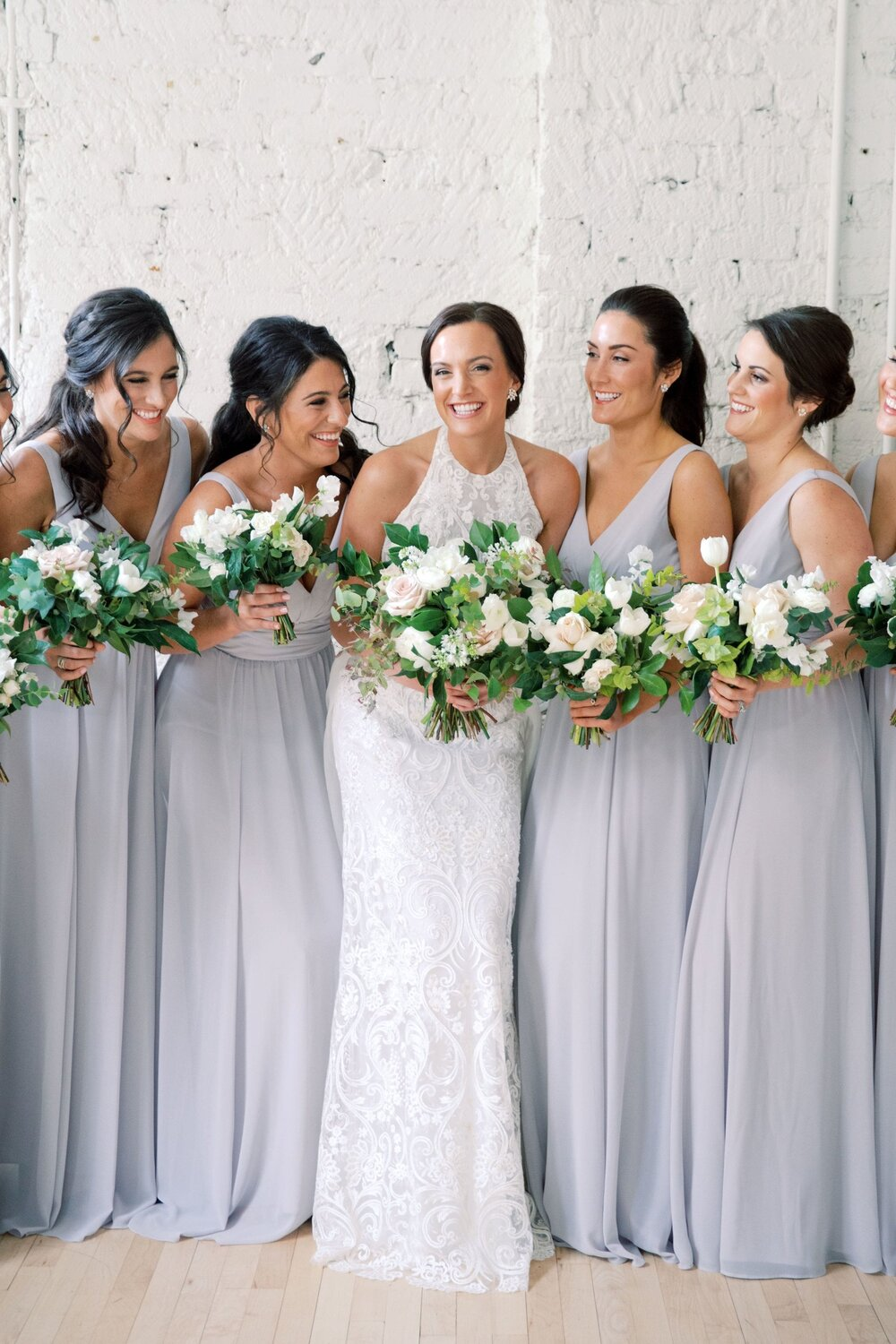 Justine by Amsale Bridesmaids in dove
