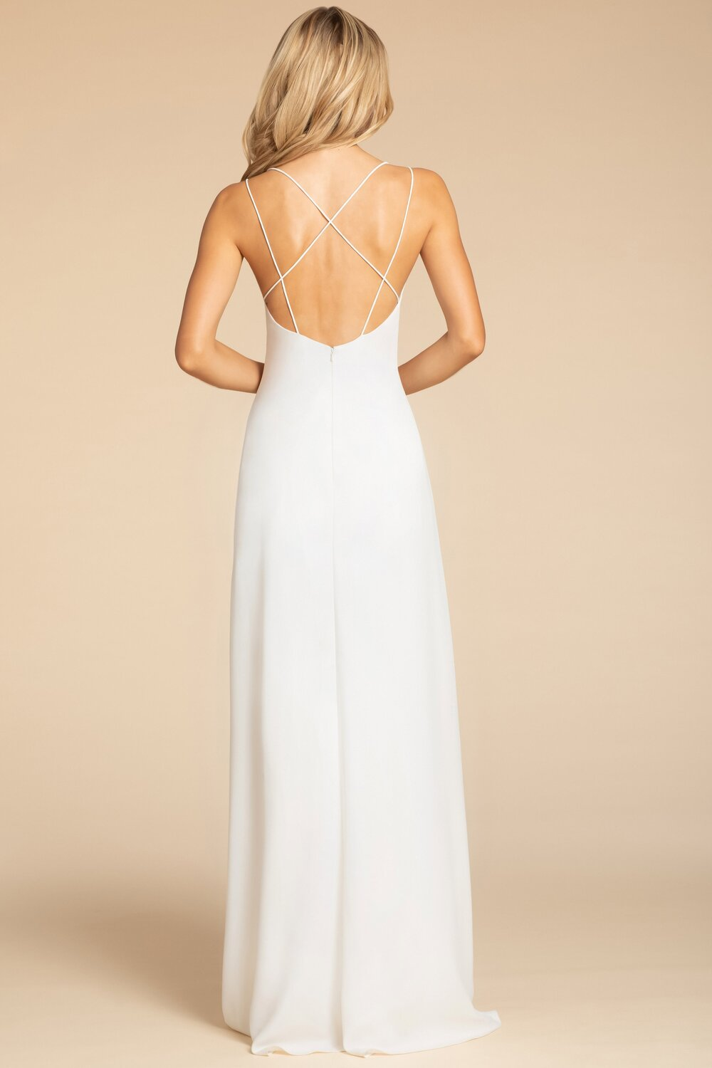 Back of hayley-paige-occasions-bridesmaids-spring-2019-style-5901 in ivory