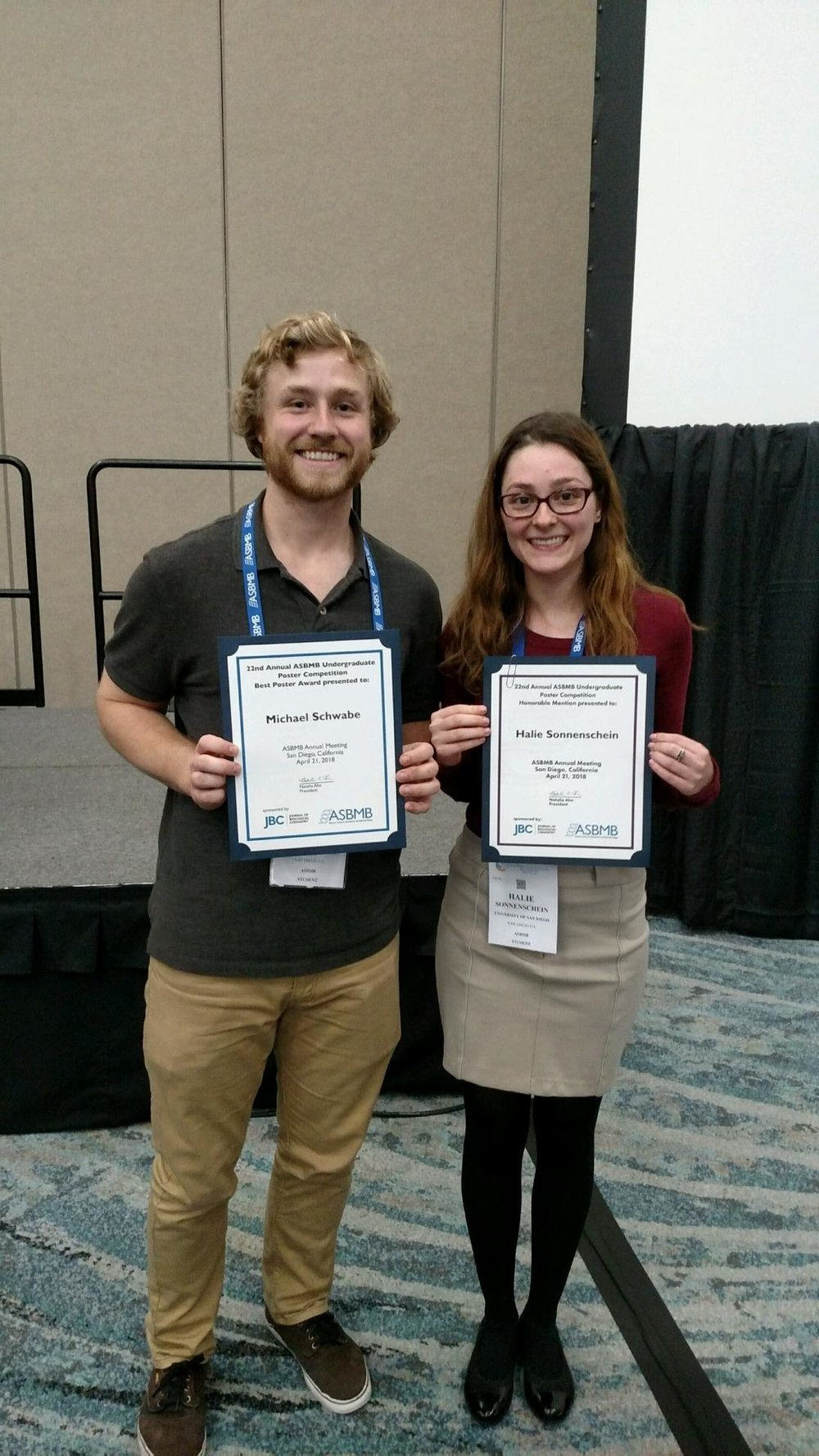 April 21st., 2018  Michael Schwabe, Winner, Proteins & Enzymes, Halie Sonnenschein, Honorable Mention, Cell Signaling, at the 2018 ASBMB Undergraduate Research Poster Competition: Congratulations!    September 2017  New Pedagogical Research Project on CUREs funded by NSF   http://www.sandiego.edu/ugresearch/news-events/detail.php?_focus=59646