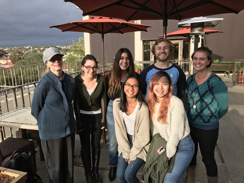 Six amazing students (Halie, Flowreen, Nina Marie, Sirena, Michael and Kyra, associated  with the Bell Lab over the last three years ) at the departmental Honors reception together with their PI, Jessica Bell. Five headed to Grad School,Two off to Yale, one to Duke, one to Northeastern, one to Vanderbilt , one to Med School
