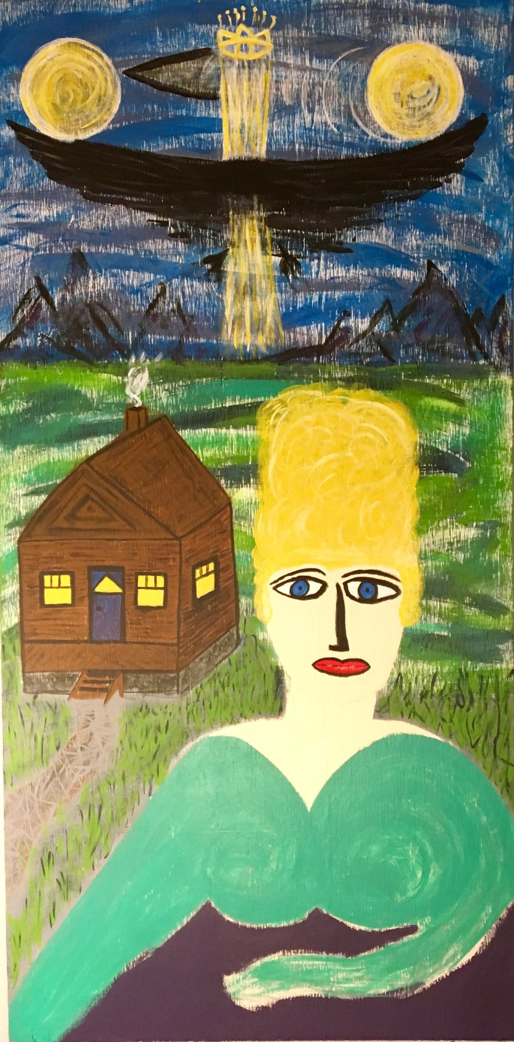 Husband & WIFE (RIGHT) - Paint on 2x4 Wood Panel by Aaron Berg