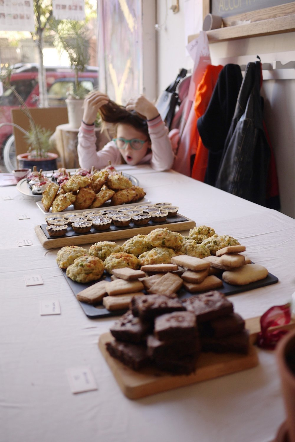 Some of the delicious baked goods that our members graciously brought for the event. Kika's mood was my mood all day.
