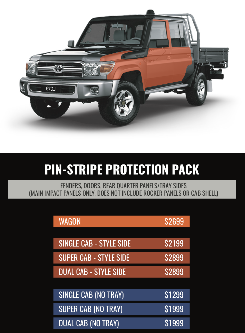 4x4 PIN-STRIPE PROTECTION PACK - The best and most affordable 4x4 Kit. Protect your vehicle from the most common damage you can sustain from off-road driving. High wearing side panels protected from tree branches and pin-striping.