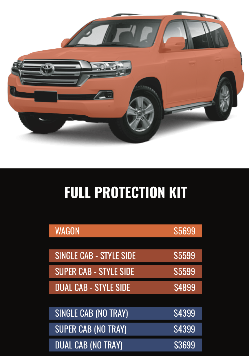 FULL PROTECTION KIT - So you don't do anything by halves?You want to protect every exterior surface of your pride and joy. We can do that!If your car has been customised with off-road extras be sure to email us photos for a more accurate quote. If you have a bullbar, side steps or other extras that reduce the surface area we would need to wrap, your price will be significantly cheaper. Be sure to contact us for the best quote!