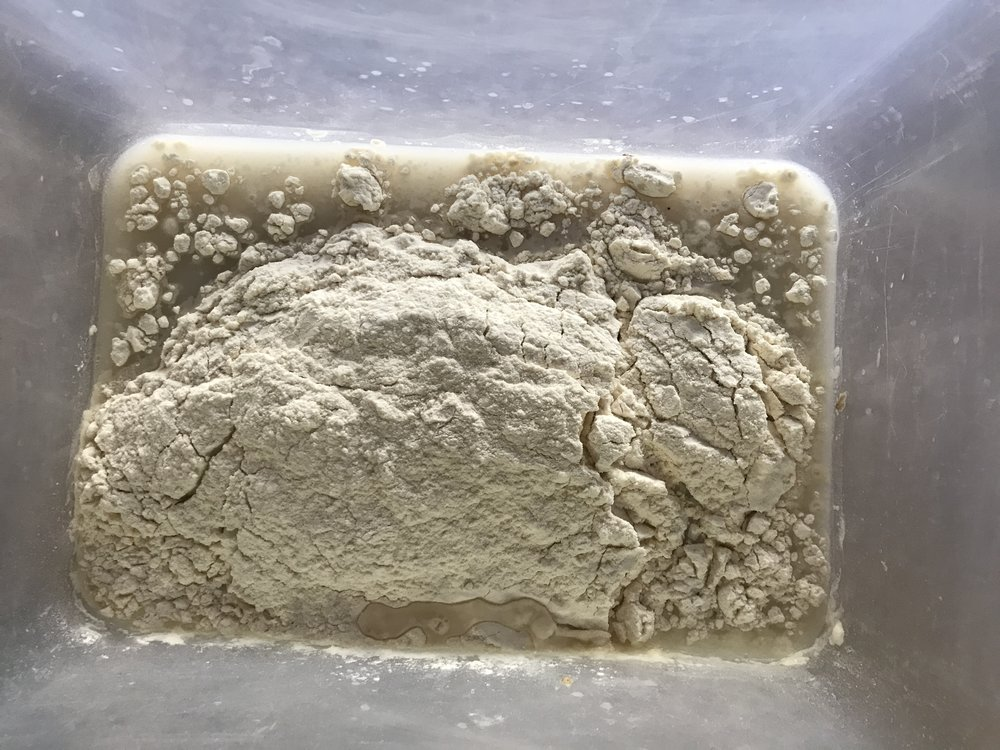 One part flour, one part water, and a tiny bit of starter!