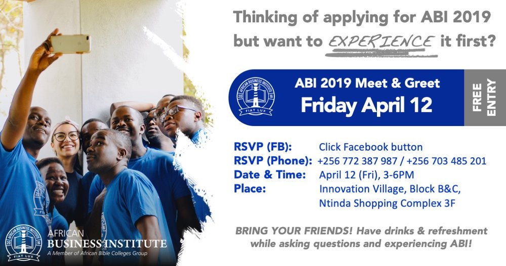 Meet & Greet 1 - April 12th (Fri), 2019, 3-6pm @ Innovation Village, Block B&C, Ntinda Shopping Complex 3F, Ntinda, Kampala, Uganda