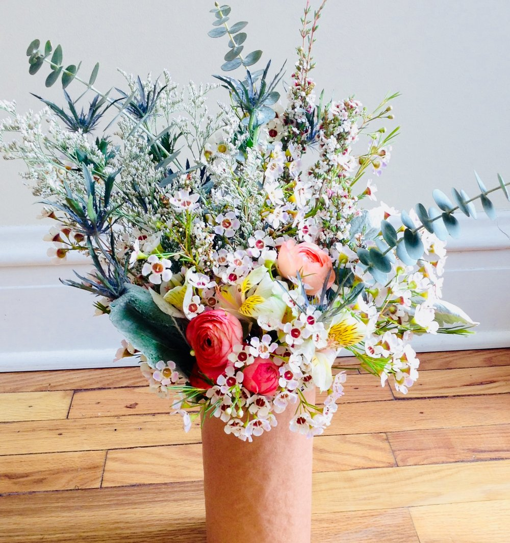 - Ready to Go:We offer pre-arranged bouquets in four sizes so you can waltz in and waltz out. Pick out your favorite and we'll send you off with a hydration wrap and some old-school brown paper to get it home safe.