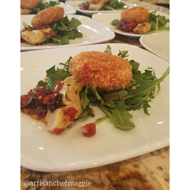 We love a row of beautiful plates around here!Crab Cakes on Arugula with Artichoke Heart Salad⁣ #food #chef #dessert #passedappetizers #horsdoeuvres #chefsofinstagram #catering #privatechef #appetizers #partyplanning #weddingplanning #weddingfood #weddingwyoming #wyomingwedding #lasvegasfood #lasvegaswedding #delicious #handmade #lasvegas #foodie #wyoming #jacksonhole #starvalley #cheflife