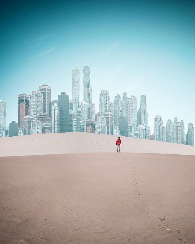 /Mirage/ This image has sources from two different locations, the desert base is from Little Sahara State Park in Utah and the sky line is  a multiplication of Vancouver. Check my story for a quick look at the layers behind the image! . . . . .  #forbiddenart #voyaged #lensbible #manipulation #creativecommune #allaboutadventures #creative_ace #manipulationclan #gramslayers