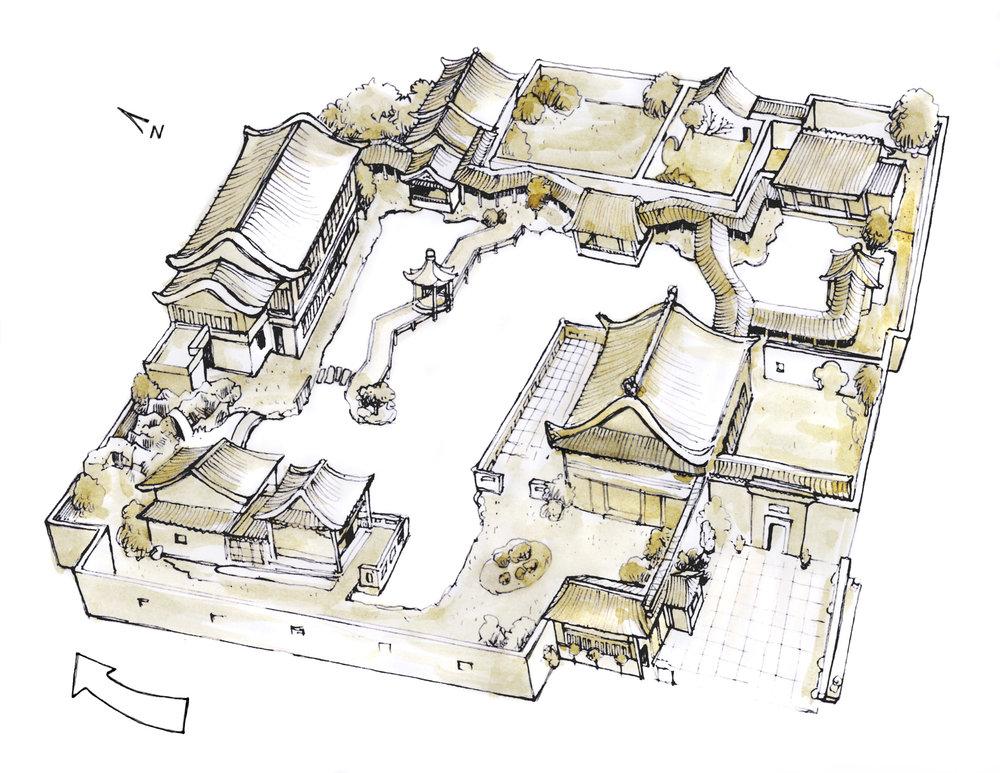 Lan Su Chinese Garden - aerial map