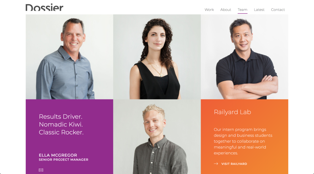 Portraits of the Dossier team featured on the website