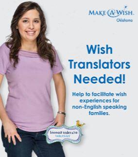 ¿ Hablas  español? ¡ Necesitamos tu ayuda ! Voluntarios bilingues para ayudar a familia en el estado de Oklahoma! Visita el sitio web aqui:  http://oklahoma.wish.org/ways-to-help/volunteering